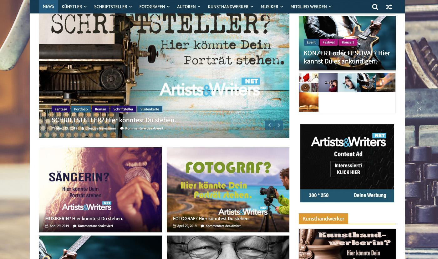 Artists&WritersNET Ankündigung April 2019 - Bildschirmfoto © C&H Creative Marketing GmbH